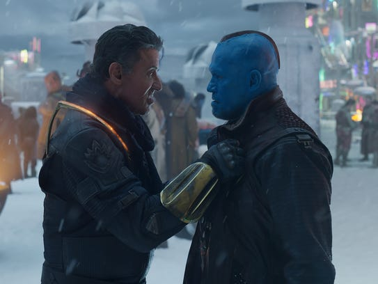 Yondu (Michael Rooker, right) is at a loss when he