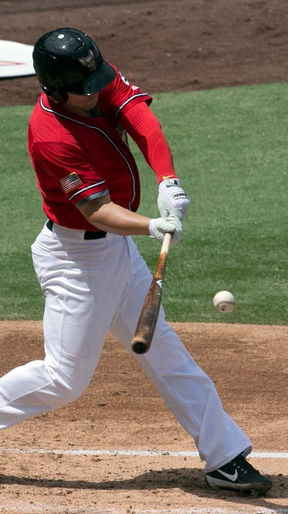 Jaime Romak of the El Paso Chihuahuas swings for a