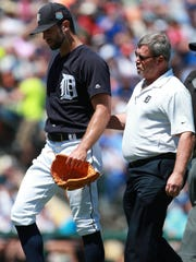 Tigers pitcher Daniel Norris (44) is taken out of the