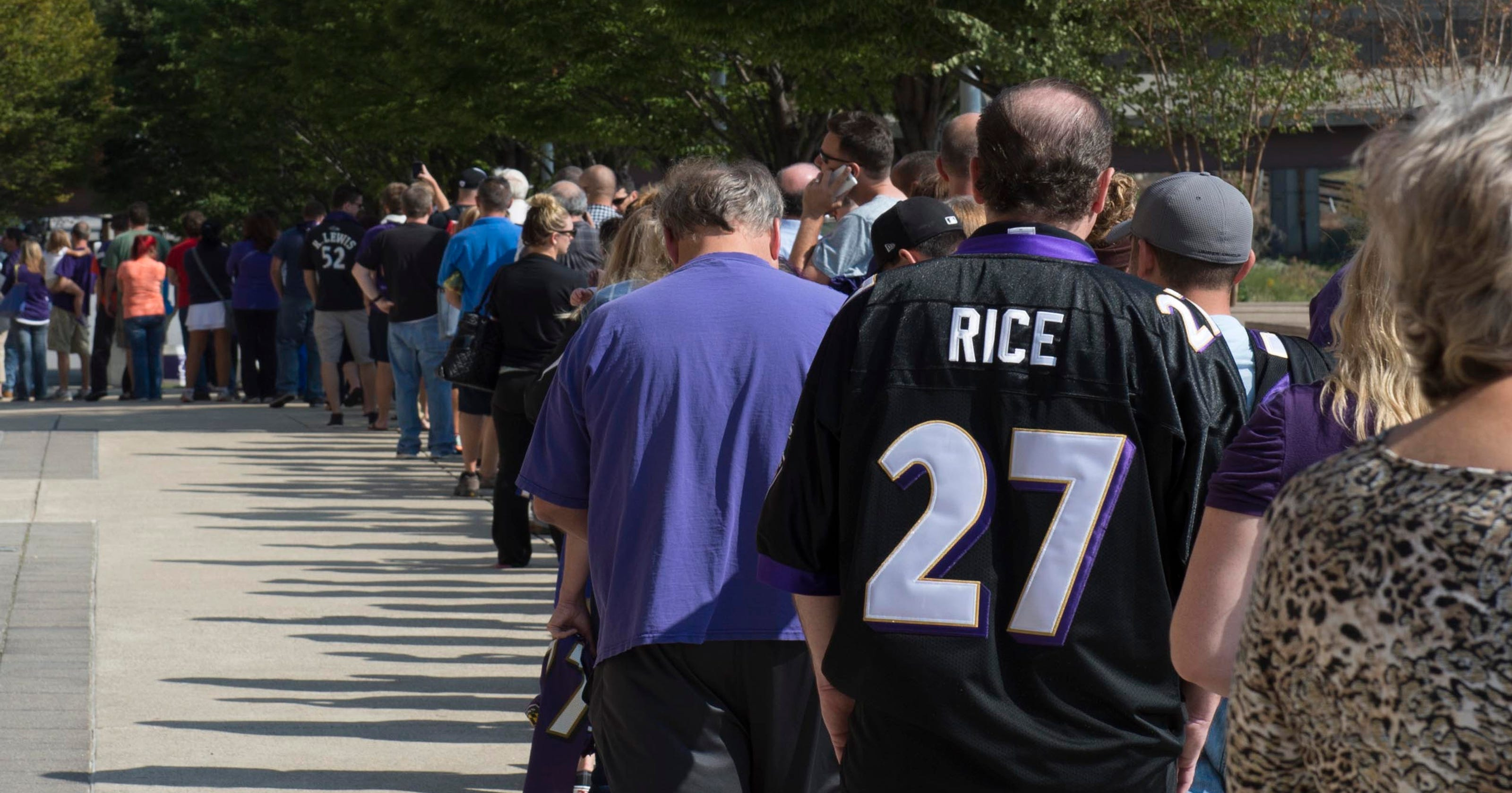 831afd63fcb Estimated 7,000 fans trade in Ray Rice jerseys