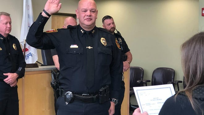 Rich Brodrick is sworn in Monday as the interim East Peoria police chief. Brodrick previously had been serving as the department's deputy chief of administration and support services. He succeeds Chief Steve Roegge, who resigned last week.