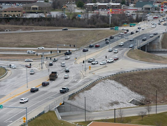 A recent study concluded that diverging diamond intersections, like this one at U.S. 60 and National Avenue, help cut down on accidents.