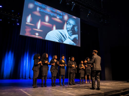 "The MTSU Generation of Purpose gospel choir performs ""King Jesus is a Listening"" during the 2018 candlelight vigil at Tucker Theatre in honor of Dr. Martin Luther King Jr."