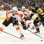 Flyers center Brayden Schenn skates with the puck against the Pittsburgh Penguins during the third period. Schenn had two goals as the Flyers won 4-1.