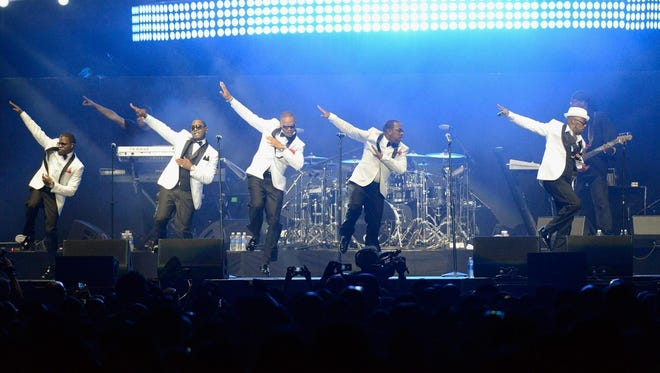 New Edition (from left, Ricky Bell, Michael Bivins, Ronnie DeVoe, Johnny Gill and Ralph Tresvant) will perform on July 16 at Bankers Life Fieldhouse.