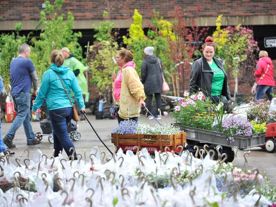People walk between sheds during Flower Day at Eastern