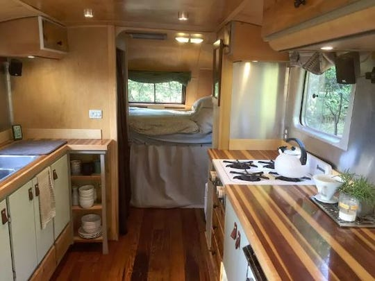 The interior of an Airbnb Airstream.