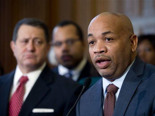 Assembly Speaker Carl Heastie, D-Bronx, speaks during a news conference on paid family leave on Tuesday, Feb. 2, 2016, in Albany.