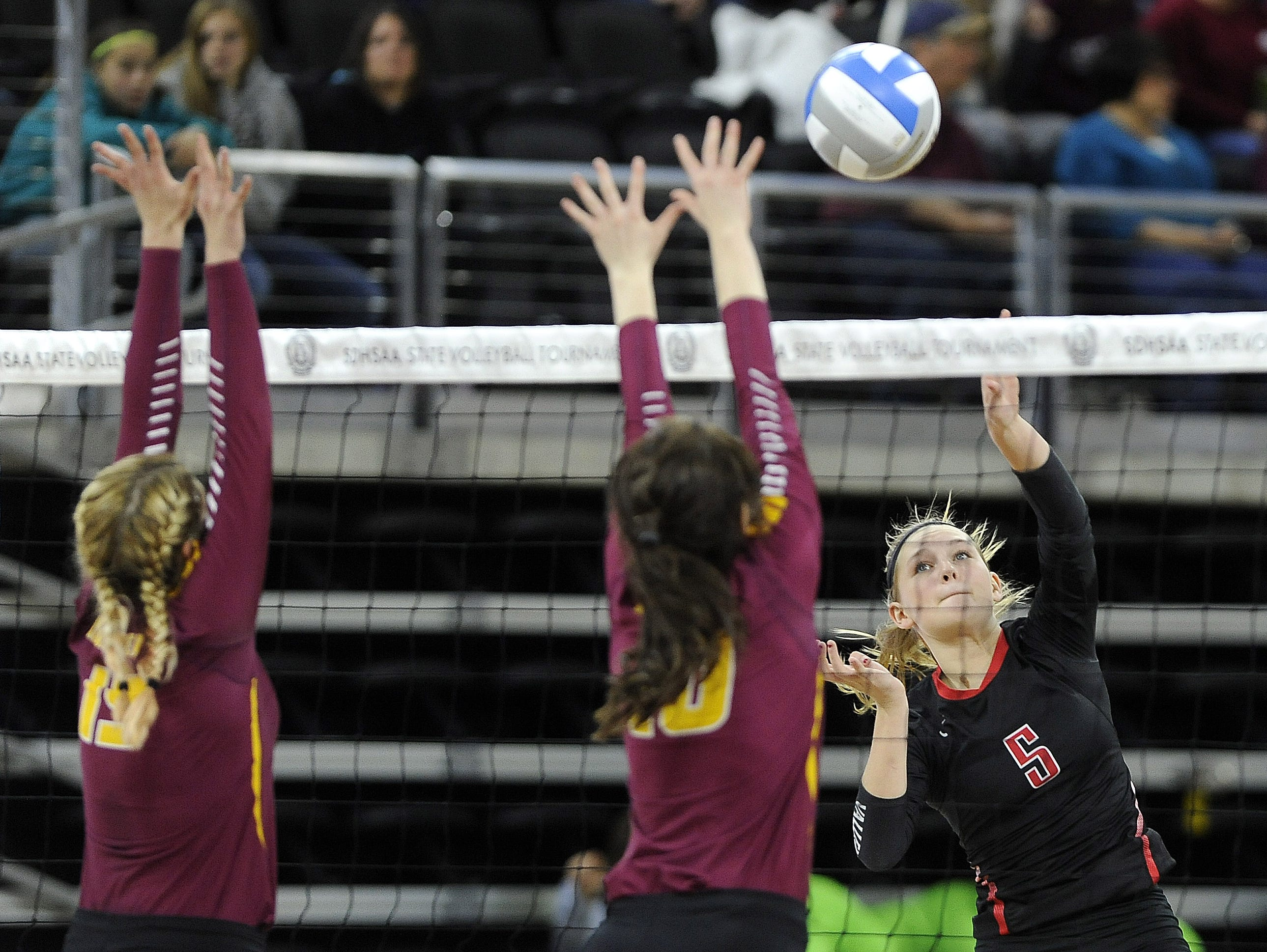Roosevelt's # against Brandon Valley during state volleyball action at the Denny Sanford Premier Center in Sioux Falls, S.D., Thursday, Nov. 19, 2015.
