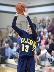 Elco's Mason Bossert launches a made 3-pointer late in the fourth quarter of Tuesday's 68-60 win over Donegal in the Raiders' regular-season finale.