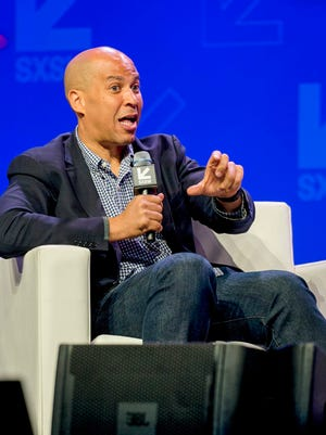 Sen. Corey Booker answers questions during the interactive opening speaker event at SXSW on March 10, 2017.