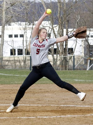 Bella Reese delivers a pitch for Elmira in a 3-0 victory over Corning on April 20 at Ernie Davis Academy.