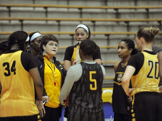 USM women's head basketball coach Joye-Lee McNelis speaks to her players during practice in Reed Greene Coliseum. Assistant coach Kiley Hill will be interim head coach while coach McNelis takes a leave of absence due to health reasons.