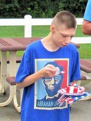 Wearing his favorite Abraham Lincoln T-shirt, Ryan