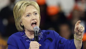 Democratic presidential candidate Hillary Clinton speaks at a rally in New York in March.