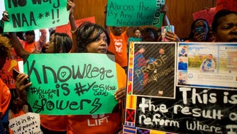 Members of Memphis Lift disrupt the national NAACP board meeting in Cincinnati on Saturday, October 15, 2016.