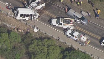 A bus belonging to First Baptist Church of New Braunfels, Texas, collided with a pickup March 29, 2017.