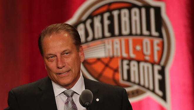 "Tom Izzo reacts during the 2016 Basketball Hall of Fame Enshrinement Ceremony at Symphony ""Tonight, other than the birth of my children, is the proudest and greatest achievement of my life,"" Tom Izzo said at his Basketball Hall of Fame induction Friday, Sept. 9, 2016."