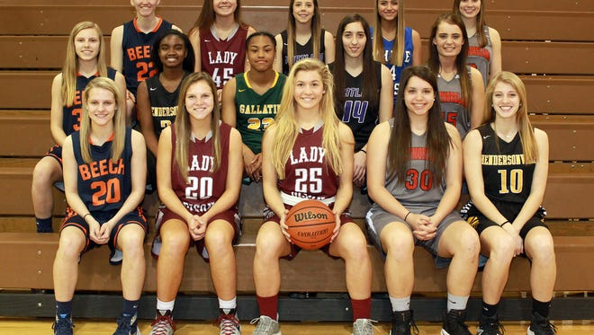 All-Sumner County Girls Basketball Team: front row, L-R: McCall Decker, Beech; Jane Deason, Station Camp; Player of the Year Emiline Payne, Station Camp; Karley Smith, Westmoreland; Brooke Long, Hendersonville; (second row) Mia Dean, Beech; Deshiya Hoosier, Hendersonville; Jo'Neca Ridley, Gallatin; Mackenzie Trouten, Portland; Kaitlyn Norman, Westmoreland; (back row) Kendra Mueller, Beech; Olivia Delk, Station Camp; Rachel Jennings, Portland; McKenzie Vaughn, White House; Gracie Oliver, Westmoreland. Not pictured is Westmoreland's Darby Bowser.