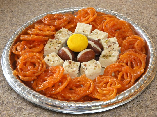 Sweets shown here, all from Bombay Sweets, are jebli