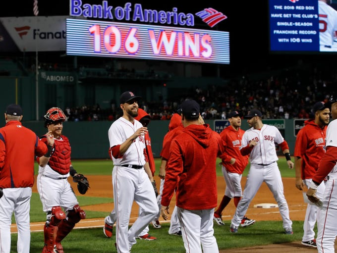 Sept. 24: The Red Sox celebrate after beating the Orioles