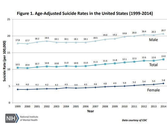 Age-adjusted suicide rates in the United States, according