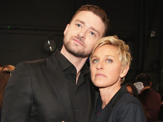 TV personality Ellen DeGeneres and actor/singer Justin Timberlake.