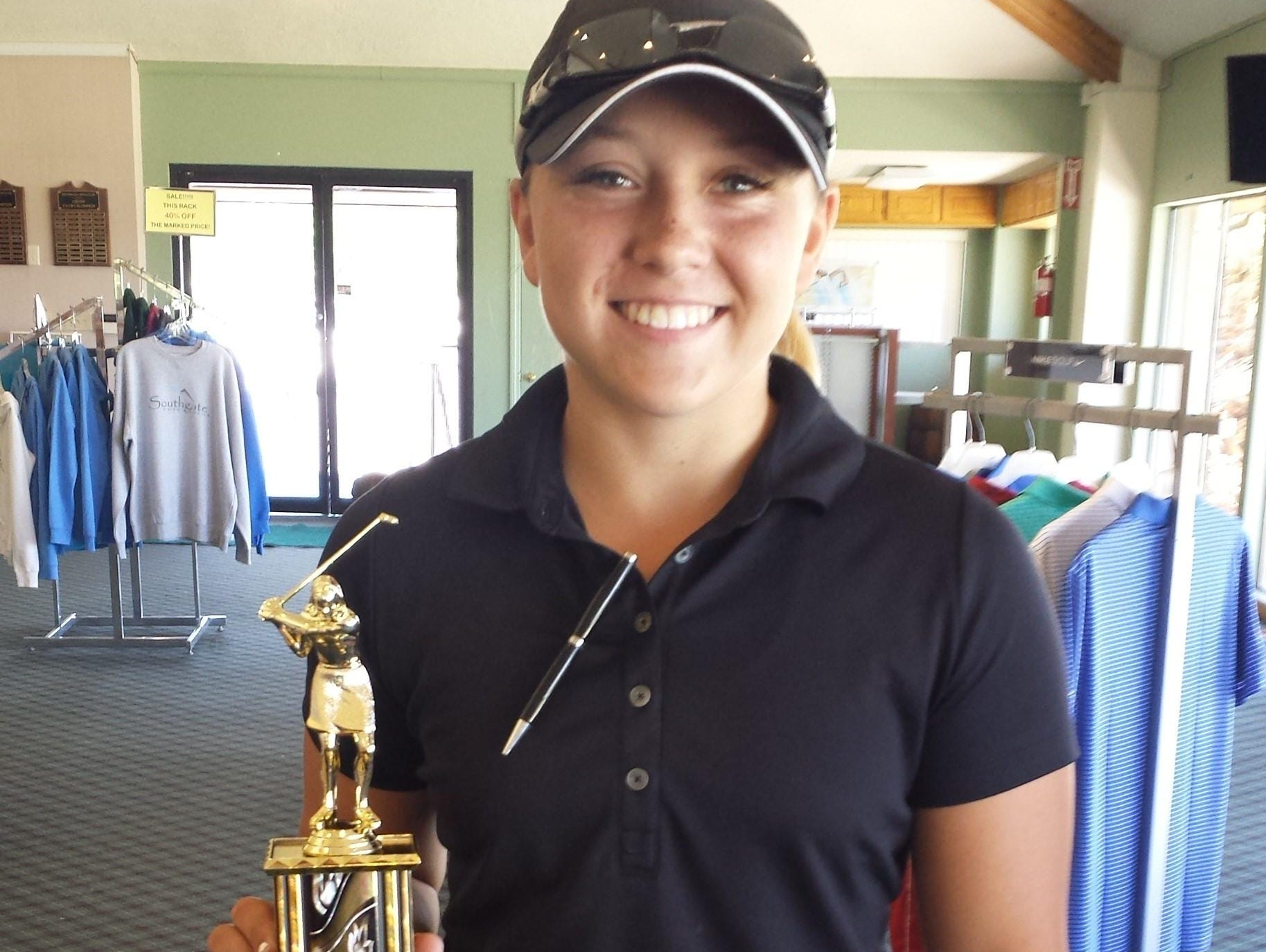 Pine View's Taylor Bandley secured a first round bye after edging out Snow Canyon's Lexi Hamel by one stroke at Southgate Golf Club on Tuesday.