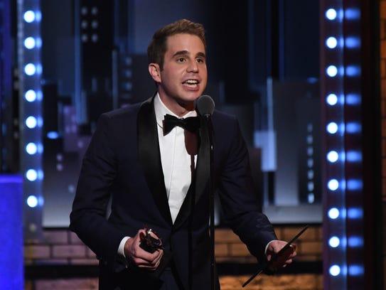 Ben Platt accepts the award for best lead actor in