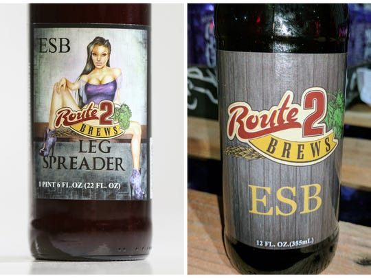 Route 2 Brewery's Leg Spreader label on the left contains