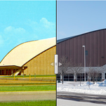 Sioux Falls Arena is shown in the 1960s and today.
