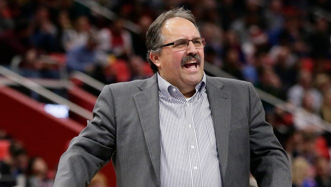 Detroit Pistons head coach Stan Van Gundy reacts to a call Tuesday night against the Indiana Pacers.