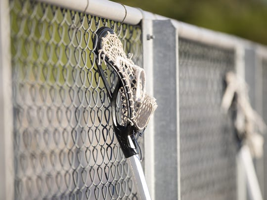 A Lacrosse Stick during the Division II Lacrosse State Finals at Corona del Sol High School on Friday, May 4, 2018 in Tempe, Arizona.