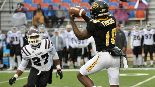 Grambling's Chad Williams catches a pass over the middle.