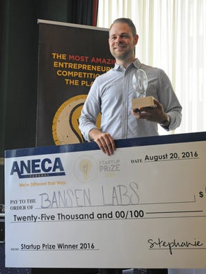 Ray Abel of Bansen Labs walked away as the 2016 Louisiana Startup Prize winner.