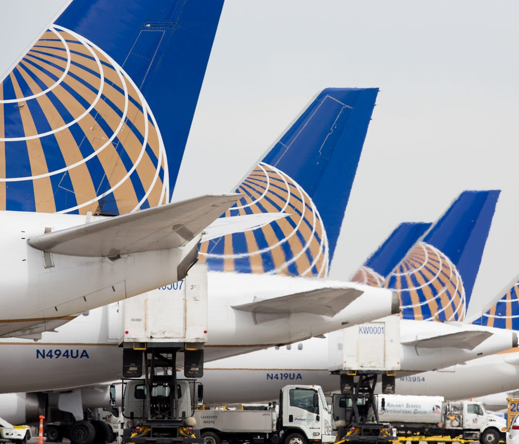 United Airlines planes at Denver International Airport on May 7, 2017.