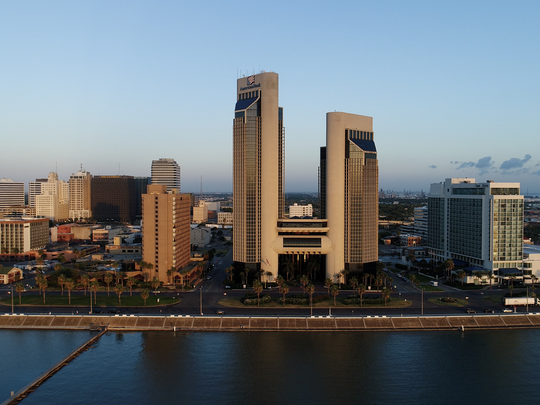 Downtown Corpus Christi seen from Corpus Christi Bay on Wednesday, July 19, 2017.