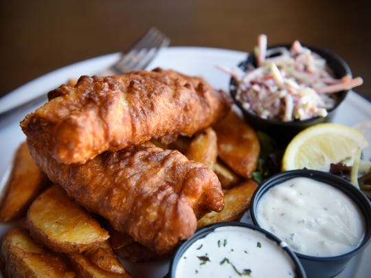 A serving of Guinness fish and chips is ready for service Friday, Feb. 17, at the Olde Brick House in St. Cloud.