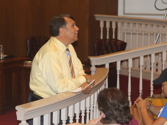 Dover Mayor Robin Christiansen talks to homeless advocates