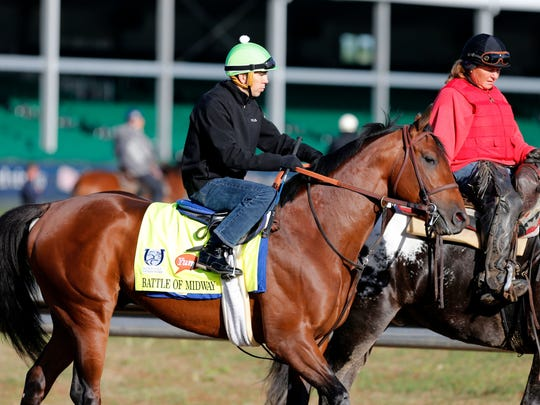 Haskell Invitational contender Battle of Midway is shown preparing for the Kentucky Derby in May,