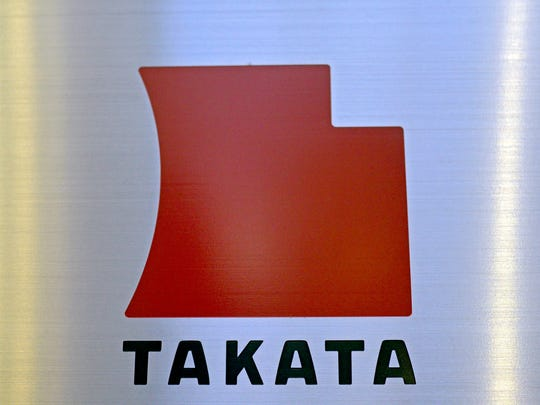 A file picture dated 2013 shows the logo of Japanese auto-parts supplier Takata Corp. at the company Tokyo headquarters in Tokyo, Japan.