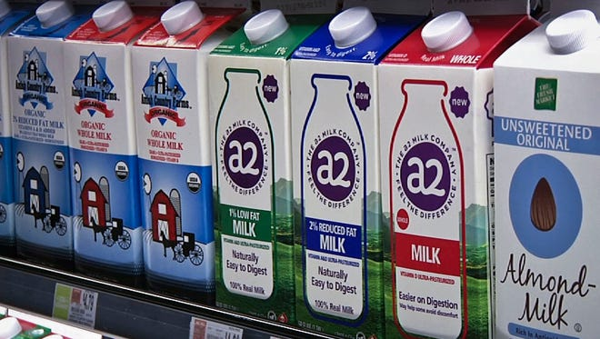 In this Friday, May 18, 2018 photo, A2 milk is displayed on the shelf at The Fresh Market in Latham, N.Y. So-called A2 milk is showing up on more supermarket shelves. (AP Photo/Michael Hill)