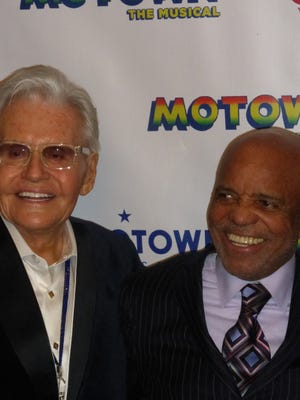 "Bloomfield Hills resident Art Van Elslander, chairman and CEO of Art Van, and Berry Gordy Jr. celebrate the homecoming of ""Motown the Musical."""