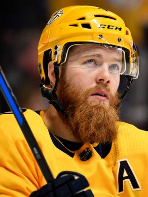 Nashville Predators defenseman Ryan Ellis (4) heads onto the ice after befre the second period against the Arizona Coyotes at Bridgestone Arena in Nashville, Tenn., Thursday, Jan. 18, 2018.