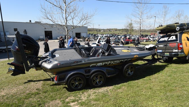 The bass boat of Bassmaster Classic champion Jordan Lee sits on display Friday at Ranger Boats in Flippin. Ranger Boats stated it will temporarily shut its factory after an outbreak of COVID-19 swept through the facility resulting in sick workers being sent home for quarantine.