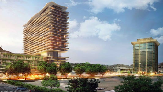 An architect's rendering of a proposed 22-story apartments and hotel tower in West El Paso.