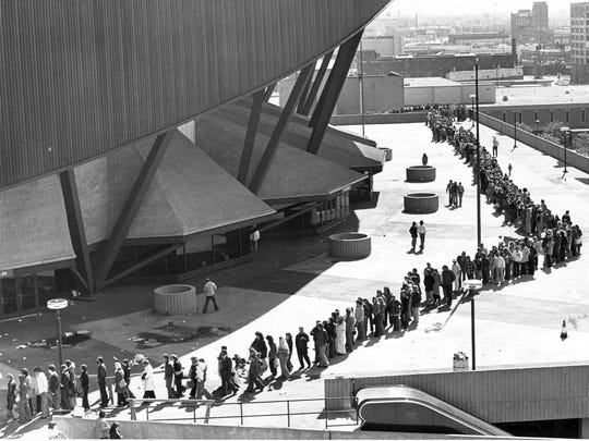 Fans lined up outside Market Square Arena to purchase tickets for Elvis Presley's 1977 show at the Downtown venue.