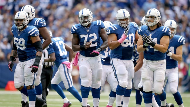 The Colts offensive line has yielded just one sack on QB Andrew Luck in 154 playoff snaps.