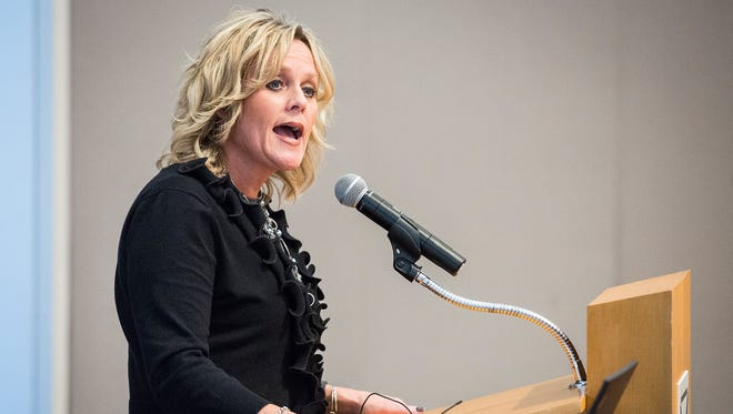 State Superintendent candidate Jennifer McCormick discusses her platform and answers questions submitted by the audience at a joint event at the Ball State Alumni Center that also included candidate Glenda Ritz on Tuesday evening.