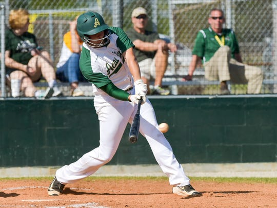 Hunter Tabb at the plate as Acadiana takes on New Iberia- Tuesday, March 21, 2017.